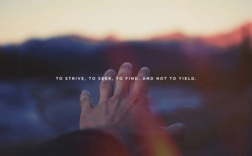 To Strive, To Seek, To Find and Not To Yield